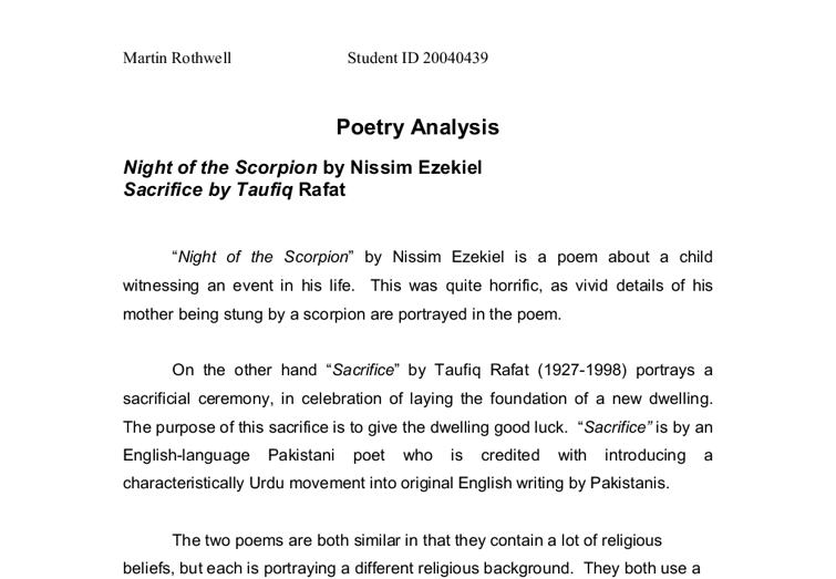 Writing a literary analysis essay about poetry