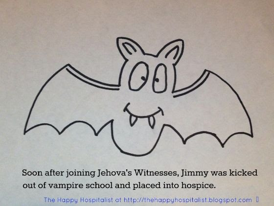 Vampire bat joining Jehovah's Witnessess and then entering into hospice cartoon