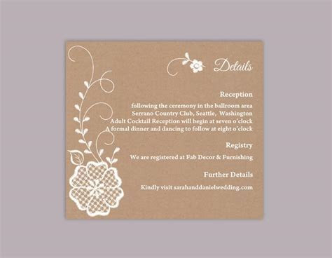 DIY Lace Wedding Details Card Template Editable Word File