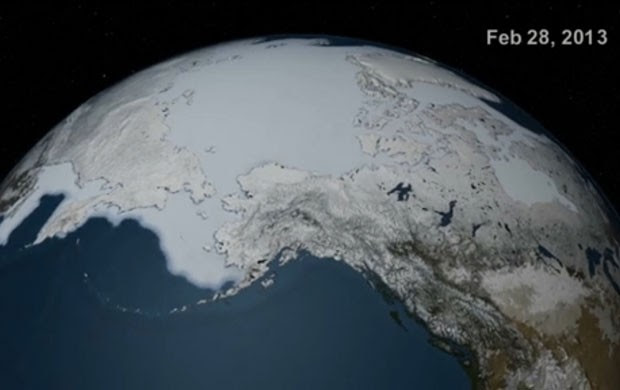 Imagem do satélite do Ártico com seu maior volume de gelo no ano (Foto: Nasa/Goddard)