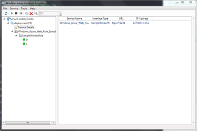 Endpoint displayed in the Windows Azure Compute Emulator