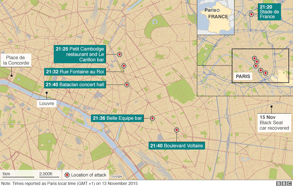 The attacks mainly targeted venues in central Paris where large numbers of people were socialising