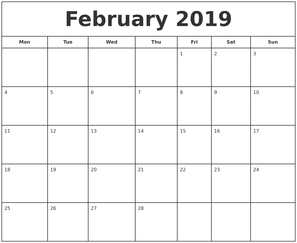 february 2019 print free calendar monday start