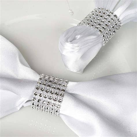 Diamond Rhinestone Napkin Ring With Velcro   Set of 10