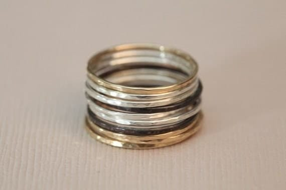 Set of 10 skinny stackable rings - mix metal rings - MADE TO ORDER
