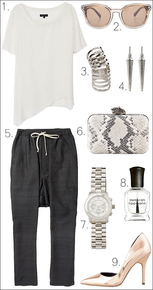 Le Fashion Outfit Collage Rag Bone Alexis White top Rebecca Minkoff Chelsea Sunglasses Asos cage repossi ring spike earrings Rick Owens Drop Crotch Pants Marley House of Harlow Clutch Michael Kors Watch Boutique 9 Mirror pumps