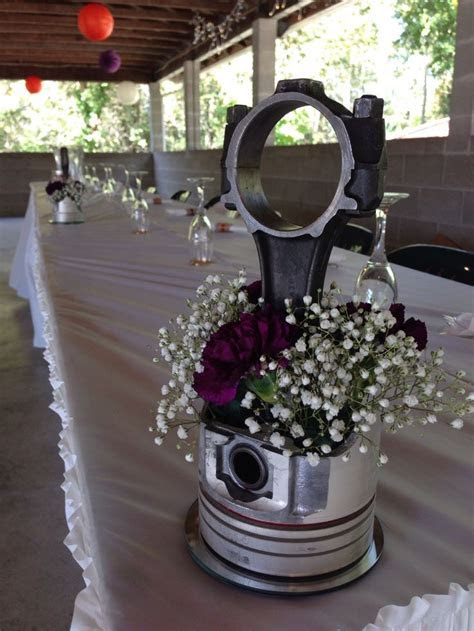 #piston #centerpiece #flowers #automotive #