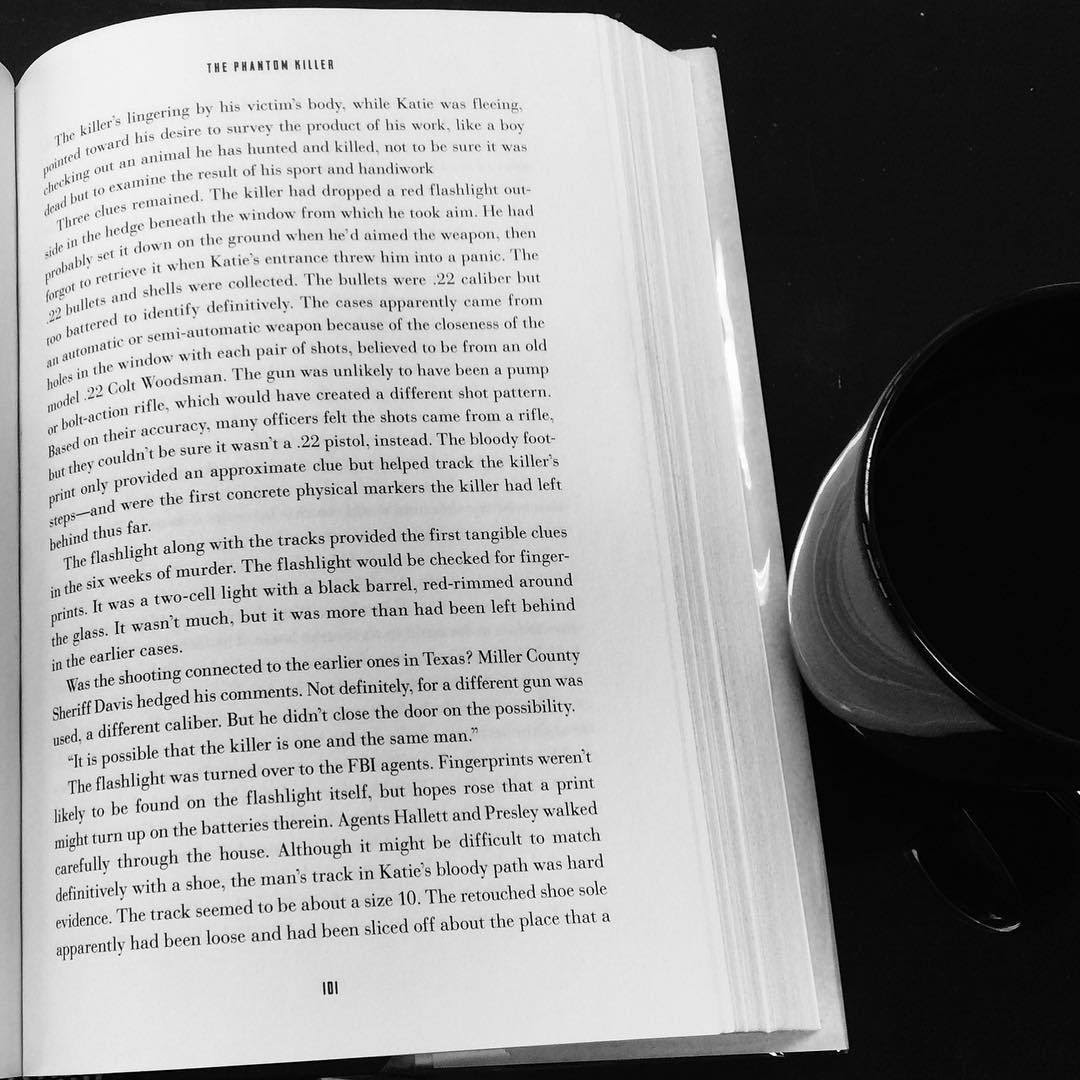 Coffee and phantom killers.. All night reading and sleepless filler. What phantoms emerge from the darkened halls? What silent threats will cause your fall?