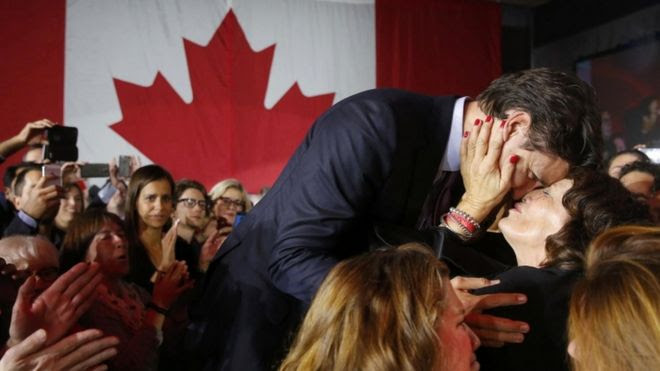 Justin Trudeau is kissed by his mother Margaret, Montreal, 19 Oct 2015