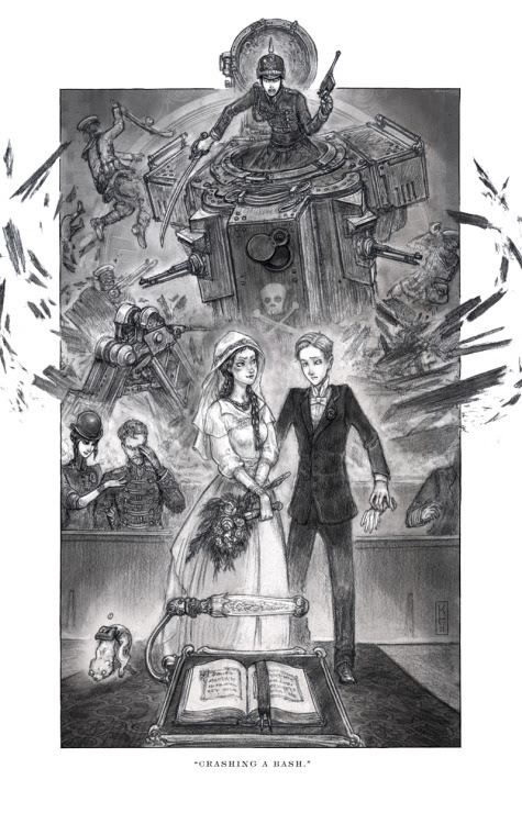 Crashing a Bash. Scott Westerfeld revealed another art from Goliath, the third installment in the Leviathan series. I'm not really sure if this is an April Fool's joke, but I just can't believe what I'm seeing in this scene! Haha. Deryn—obviously Dylan in this art, all dapper in her/his tux and all—is going to marry a girl. And it looks like Lilit, eh? Then there comes our Clanker Prince, looking badass in his uniform in his equally badass mecha, crashing the wedding. IKR, Alek? The one Deryn/Dylan's going to marry is you, not just any girl…or boy. Just please notice that she isn't a he. You're so dense sometimes. RIGHT guys I ship Deryn-Alek and there's nothing you can do about it. *fangirl heart flutters in anticipation for the third book* Anyway, this art is created by the amazing Keith Thompson.
