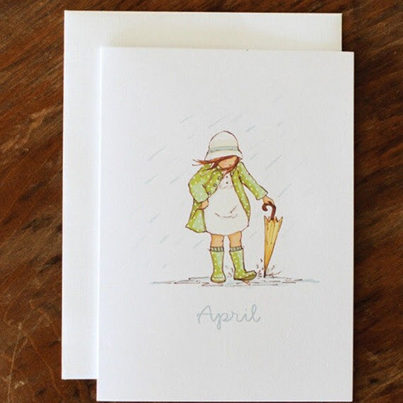 Single Card - April - Greeting or Birthday Card (Blank)