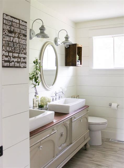 beautiful bathrooms  shiplap walls  inspired hive