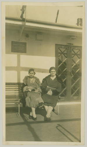 Two women on a park bench