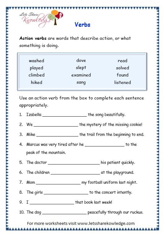 grade 3 worksheets verbs page 6