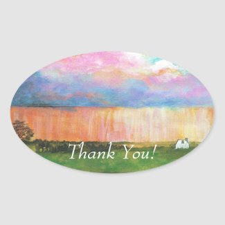 April Showers THANK YOU Oval Stickers