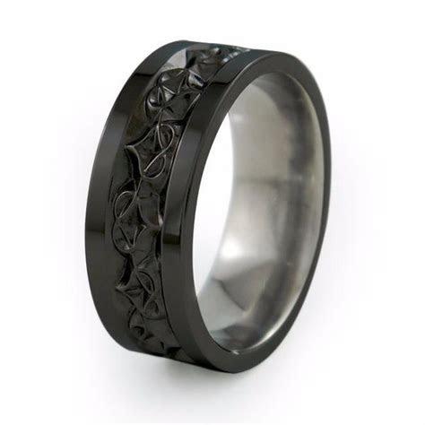 amore mens carved black titanium ring titanium rings