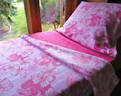Childrens Bed Set  'Pink Hibiscus' Handmade Fleece Blanket and Sheets for Girls Fits Crib and Toddler Beds
