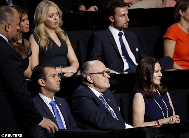 THE IN CROWD: Giuliani and his wife Judith (right) were seated in the VIP box next to Donald Trump Jr. and in front of Tiffany Trump