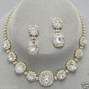 Wedding Bridesmaid Prom Bridal Gold Clear Crystal Cheap