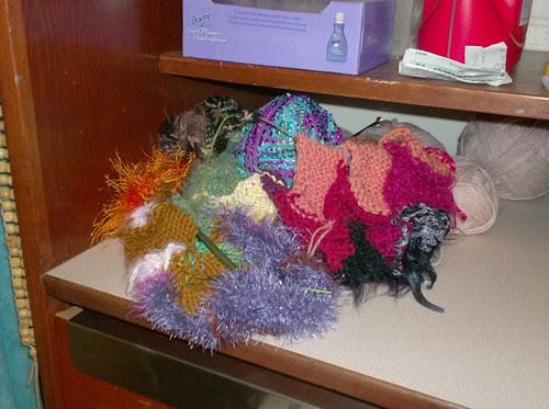 Rainbow Entrelac Magic Ball afghan knitting scraps colors