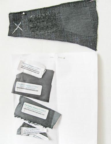 Grey jacket interfacing samples
