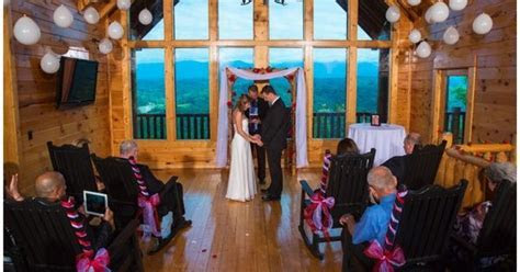 Intimate cabin wedding in Sevierville, TN overlooking the