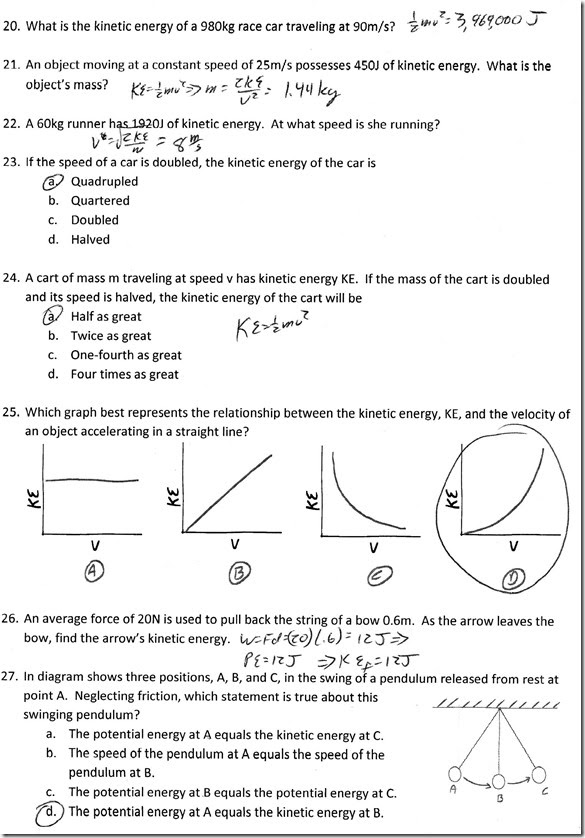 Kinetic and Potential Energy Worksheet  Homeschooldressage.com