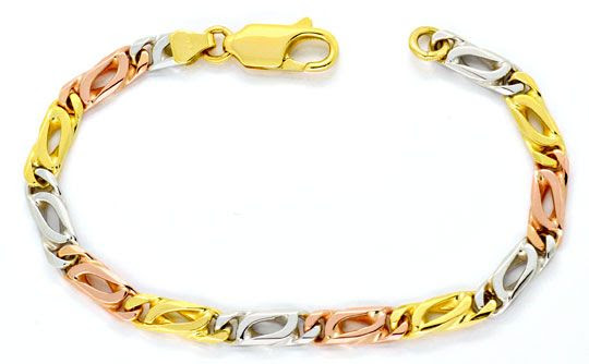 Foto 1, Armband Pfauenauge Gelb-Gold Weiss-Gold Rot-Gold Luxus!, K2132