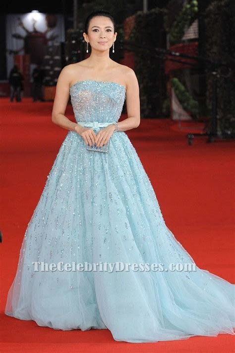 Zhang Ziyi Blue Beaded Formal Dress Rome Film Festival