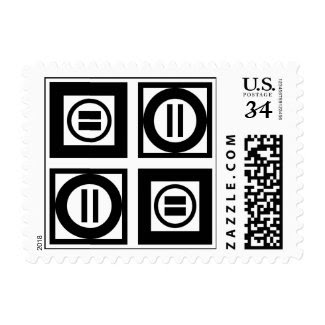 Black & White Geometric Equal Sign Pattern – Small Postage
