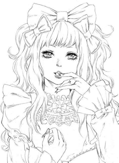 coloring coloriage manga femme kawaii coloriage