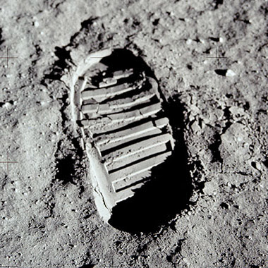 AS11-40-5877: Buzz Aldrin bootprint, made to test the properties of the regolith (lunar soil)