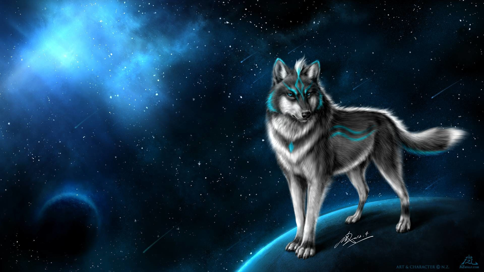 Galaxy Wolves Background Anime Wallpaper Hd