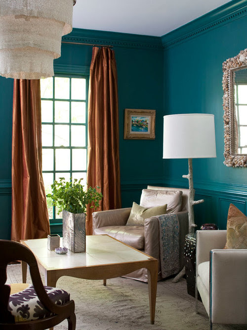 Teal Living Room Home Design Ideas, Pictures, Remodel and ...