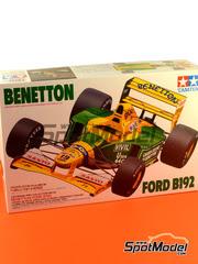 Tamiya: Maqueta de coche escala 1/20 - Benetton Ford B192 Mobil1 Nº 19, 20 - Michael Schumacher, Martin Brundle - Campeonato del Mundo 1992 - maqueta de plástico