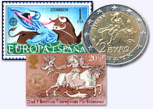 European stamps and Euro Coin depicting the Woman on the Beast