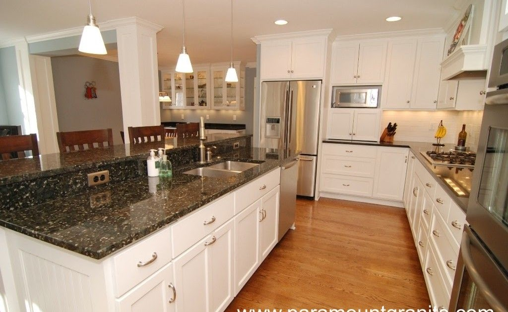 White Kitchen Cabinets Green Granite Countertops Erigiestudio