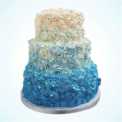 Blue Ombre Buttercream Wedding Cake   Anges de Sucre