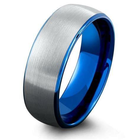 Mens Ocean Blue Brushed Tungsten Wedding Band ? Northern