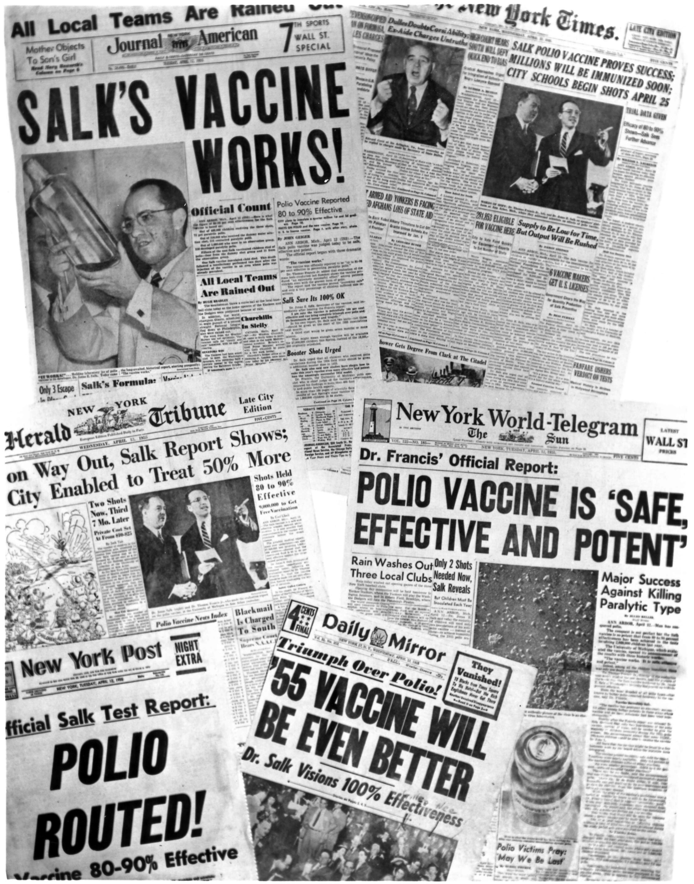 Dr. Salk's discovery of the polio vaccine made headlines the world over.