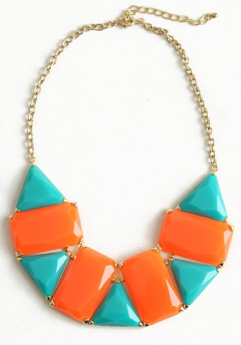 tangerine and teal statement necklace