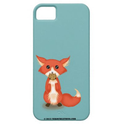 Cute Little Big Eyed Fox With Cookie iPhone 5 Case