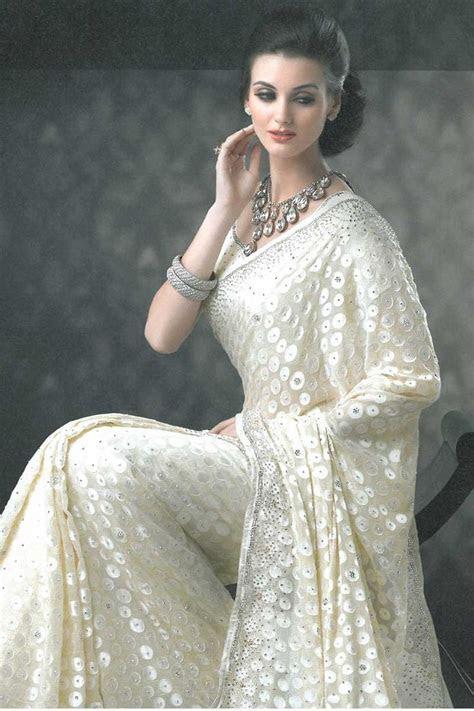 Soma Sengupta Indian Bridal  Sparkling White Sari!   White