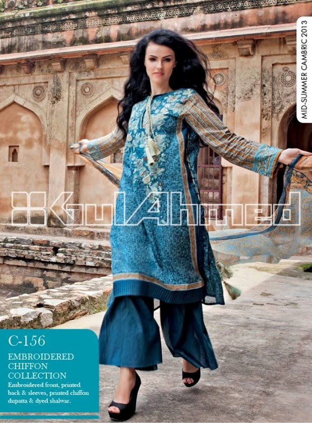 Mid-Summer-Cambric-Collection-2013-Gul-Ahmed-Printed-Embroidered-Fashionable-Dress-for-Girls-Women-4