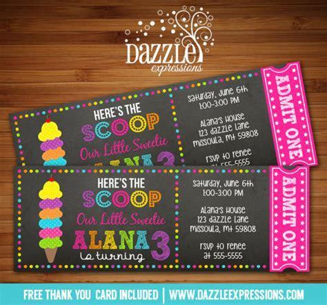 Printable Ice Cream Chalkboard Ticket Birthday Invitation