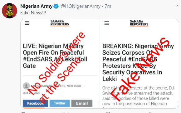 Nigerian Army denies seizing bodies of victims and also  claims no soldier was at Lekki tollgate where gunshots were fired at #EndSARS protesters.