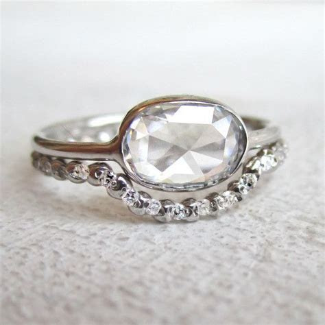Open Back Rose Cut Oval Diamond Ring   1ct   Sparkles and