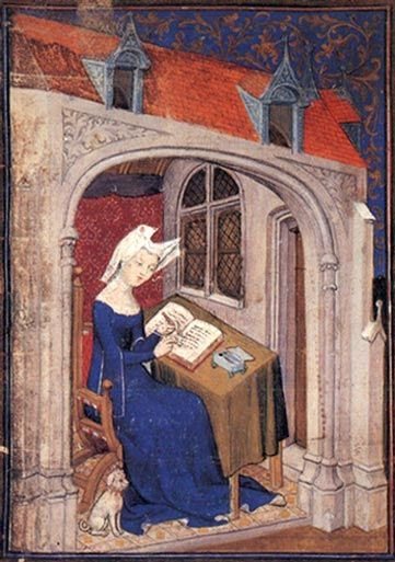 Christine de Pizan was a Venetian-born late medieval author who challenged misogyny and stereotypes prevalent in the late medieval age. As a poet, she was well known and highly regarded in her own day; she completed 41 works during her 30 year career (1399–1429), and can be regarded as Europe's first professional woman writer. She married in 1380, at the age of 15 and was widowed 10 years later. Much of the impetus for her writing came from her need to earn a living for herself and her three ...