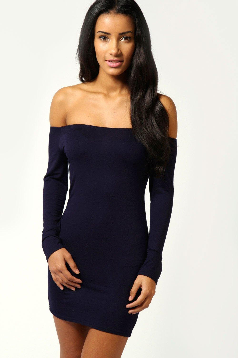 Dresses sleeve the shoulder long bodycon off plus size