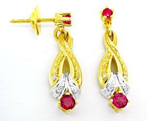 Foto 2, Diamant-Rubin-Ohrringe, -Kollier, -Armband Luxus!, Neu!, S8303